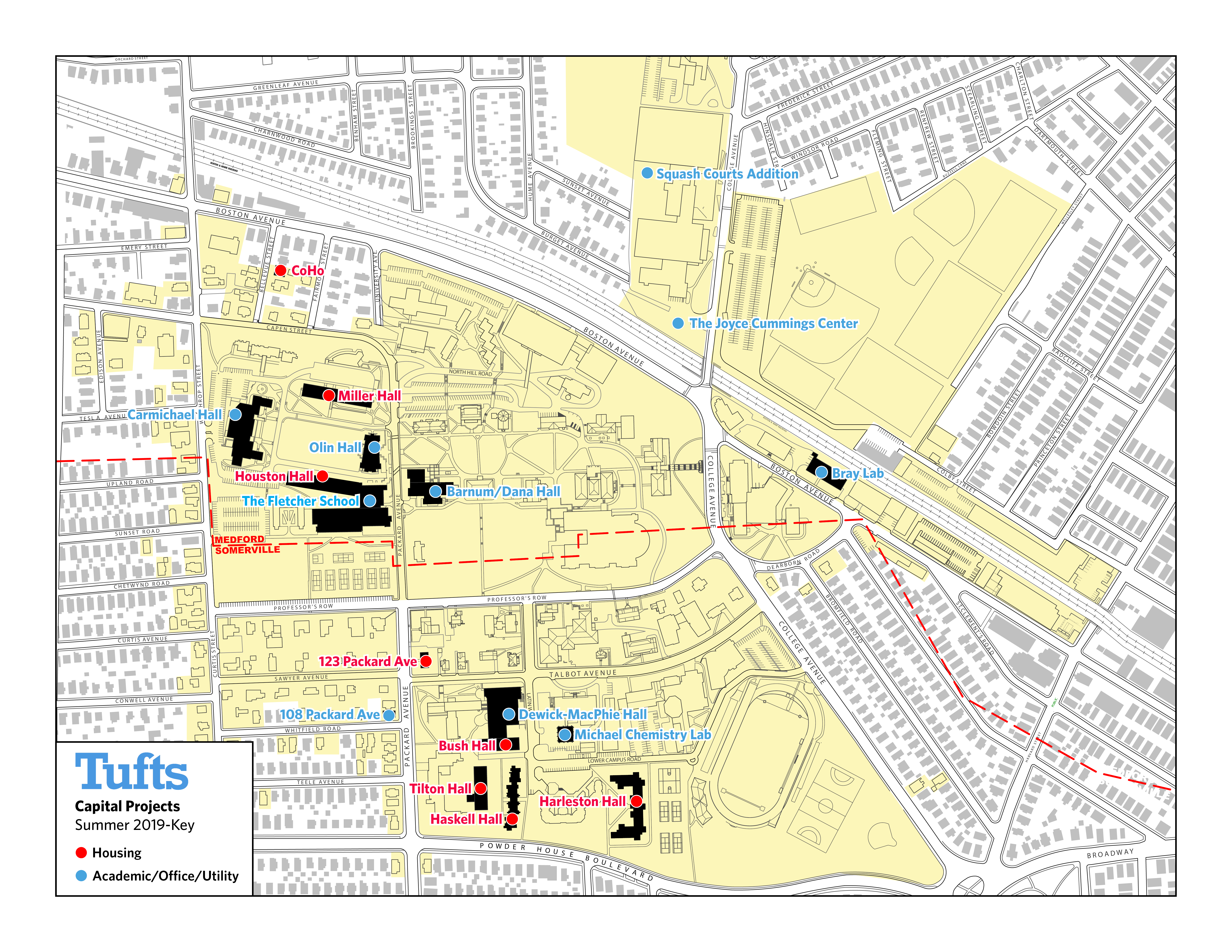 Location of Summer 2019 Construction Projects on Tufts Medford/Somerville Campus