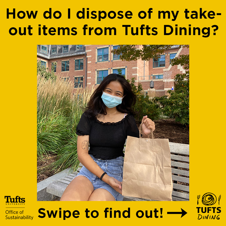 "Image of a woman with a face mask on holding a brown paper bag with the words ""How Do I Dispose of My takeout items from Tufts dining?"
