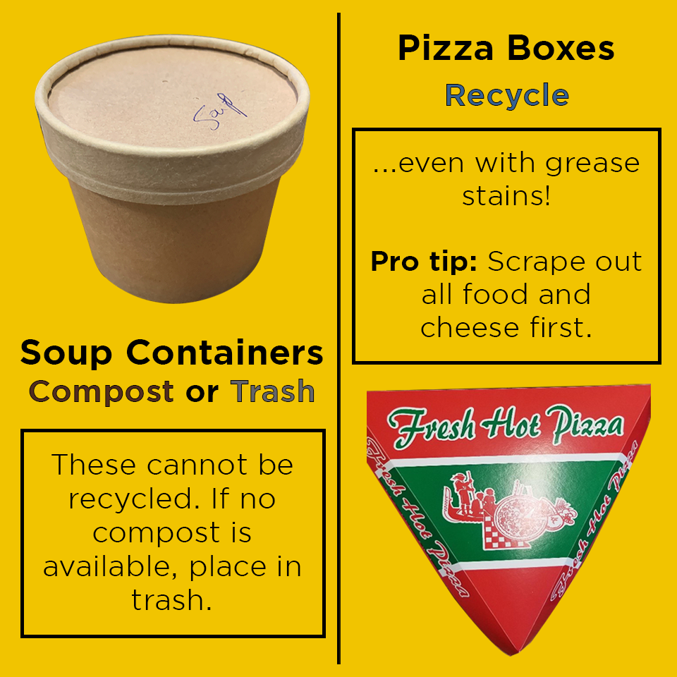"""""""Soup containers - compost or trash; pizza boxes - recycle"""""""