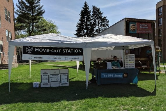 Move out station, where students can drop off unwanted items while moving out of their residence halls for the summer