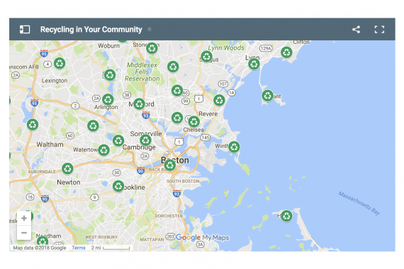 Screenshot of google maps showing recycling locations in the greater boston area