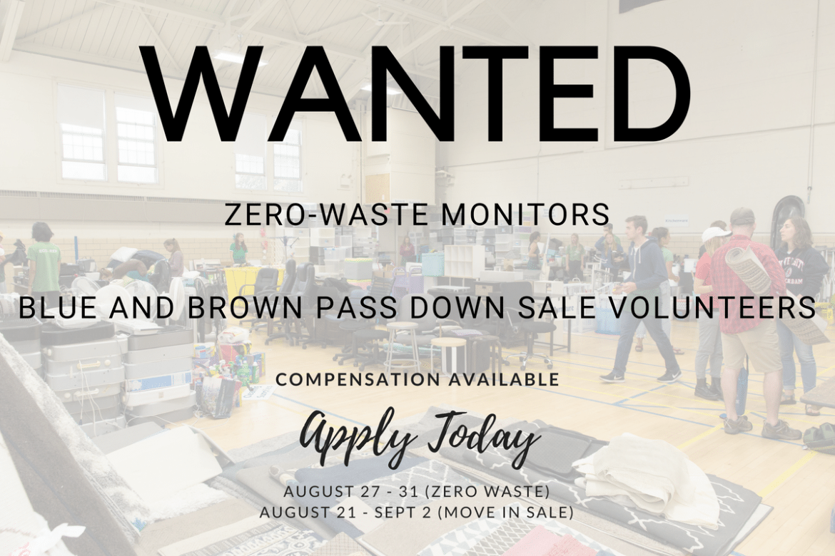 We Need Your Help - Looking for Zero Waste Workers and Move In Sale Volunteers